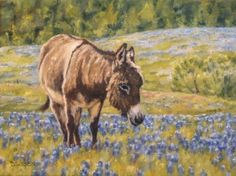 Bluebonnets and Burro Oil Painting Donkey Art Pet Portraits Farm Animals, painting by artist Debra Sisson