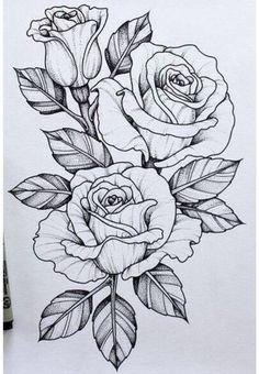 Tattoo Design Drawings, Flower Tattoo Designs, Tattoo Sketches, Flower Designs, Drawing Sketches, Pen Drawings, Rose Tattoos, Flower Tattoos, Girl Tattoos