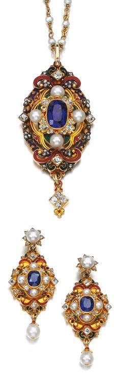 An Renaissance Revival sapphire, seed pearl, enamel and diamond demi-parure, circa 1870's.