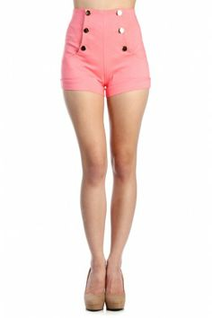 LoveMelrose.com From Harry & Molly | HIGH WAIST FRONT BUTTON SHORTS