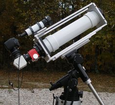 Home-built 4-inch solar telescope that incorporates a Baader safety wedge and a mylar-filtered solar-finder scope.