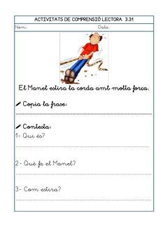 Dori dos 1112_mt005_r1_comprensio_lectora_3 Worksheets, Teaching, School, Valencia, Dan, Texts, Reading Comprehension, Preschool Printables, Special Education