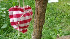 Coeur en tissus rouge à carreaux Campagne chic : Accessoires de maison par lestresorsdisa68