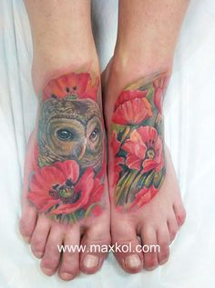 #tattoo #owl #poppy #color #art #ink