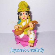 Lord Saraswathi from Jayasree's creativity Facebook page.  Procedure for making cold porcelain clay  Take 1cup cornflour, 1cup fevicol, 1teaspoon oil(u can use any oil..i prefer baby oil), 1 or 2 teaspoon vinegar or lemonjuice and finaly add one teaspoon of glycerin mix it well in a bowl and heat it slowly.... with continuous stirring with medium heat the dough will come out from the vessel .... take the dough from the pan transfer it on a clear and smooth surface coated with any cold…