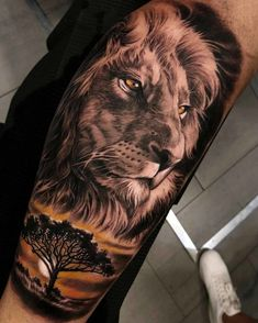 A beautiful lion tattoo by DC