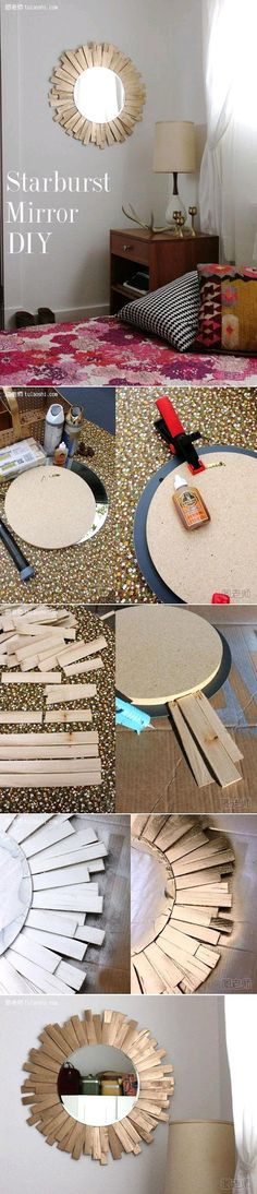 Diy : Starburst Mirror...I tried the spoon mirror and it was so cheap looking! maybe this would be prettier! lol...