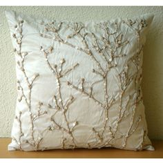 Coral Pillow with Jute and Pearls