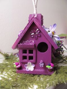 Pretty purple bird house
