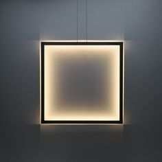 Framed suspension lamp square 100 cm x 100 cm - coated bare black steel.By Jacco Maris. Now only available as ceilinglight! Cove Lighting, Suspended Lighting, Neon Lighting, Interior Lighting, Modern Lighting, Lighting Design, Decorative Floor Lamps, Frame Light, Wall Lights