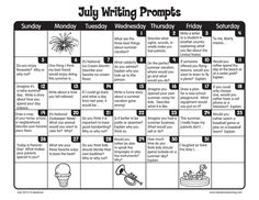 Keep up the daily writing this summer with our July writing prompts! Like and Repin. Thx Noelito Flow. http://www.instagram.com/noelitoflow