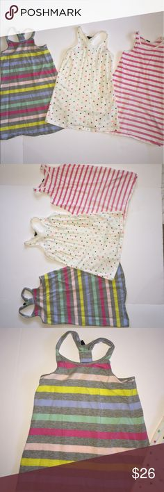 Bundle of 3 babyGap Dresses size 3-4 yrs EUC!!! Bundle of 3 babyGap Dresses size 3-4 yrs EUC!!! All 100% Cotton and super cute lightweight perfect for summer time. Pink stripes is a tank dress with 2 pockets on either side of Dress Size 4. The other 2 are racerback dresses also 100% Cotton. White with star print with cute racerback design size 3. Pastel striped dress is also racerback size 4. All in EUC!! A little wrinkled from being stored. GAP Dresses Casual