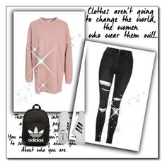 """Untitled #915"" by teszter0528 ❤ liked on Polyvore featuring NLY Trend, Topshop, adidas Originals and adidas"