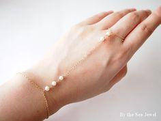 Slave bracelet finger  bracelet hand chain   14k by BytheSeajewel, $35.00