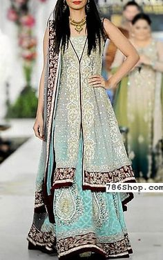 Silver/Turquoise Chiffon Suit | Buy Pakistani Fashion Dresses and Clothing Online in USA, UK