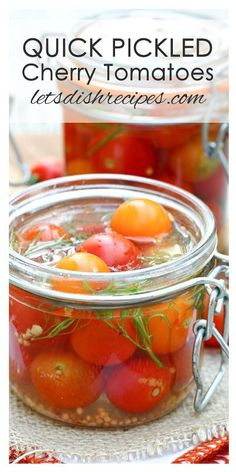 Quick Pickled Cherry Tomatoes: If you have an abundance of cherry tomatoes, these refrigerator pickled tomatoes are great on salads, or as a healthy snack. Pickled Cherry Tomatoes Recipe, Canning Cherry Tomatoes, Pickled Tomatoes, Pickled Cherries, Cherry Tomato Recipes, Canned Cherries, Pickled Eggs, Freezing Cherry Tomatoes, Canning Food Preservation