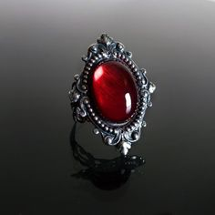 Sinistra Ruby Red Gothic Ring by Dark Elegance Designs