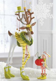 Featuring whimsical character and hand-painted details, the Patience Brewster Prancer Dash Away Reindeer Character adds charm to your Christmas display.