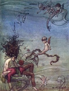 """As Perolas da Sereia (The Pearls of the Mermaid). From """"The Black Princess and Other Tales from Brazil"""" illustrated by Florence M. Anderson (1916)"""