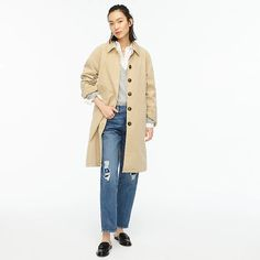 J.Crew: Garment-dyed Lightweight Trench Coat For Women J Crew Summer, Mango Coats, Lightweight Trench Coat, British Khaki, Cashmere Sweaters, Clothes For Women, How To Wear, Jackets, Meet