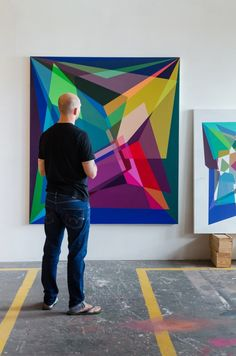 Andrzej Urbanski in studio preparing his upcoming exhibition, Mindgame, at Salon91 (opening 18 March, 2015).