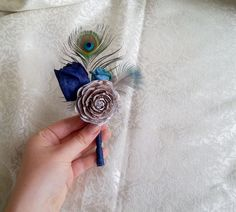 BOUTONNIERE / CORSAGE cedar rose dark blue turquoise sola flowers rustic wedding real PEACOCK feathers - pinned by pin4etsy.com