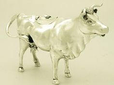 A fine, large and impressive antique Victorian English sterling silver cow creamer; an addition to our silver teaware collection  http://www.acsilver.co.uk/shop/pc/Sterling-Silver-Cow-Creamer-Antique-Victorian-163p4450.htm