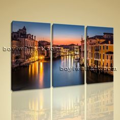 """Framed Landscape Picture Italy Venice Canal Grande Canvas Print Wall Art Decor Extra Large Wall Art, Gallery Wrapped, by Bo Yi Gallery 44""""x28"""". Framed Landscape Picture Italy Venice Canal Grande Canvas Print Wall Art Decor Subject : Italy Venice Style : Photography Panels : 3 Detail Size : 14""""x28""""x3 Overall Size : 44""""x28"""" = 112cm x 71cm Medium : Giclee Print On Canvas Condition : Brand New Frames : Gallery wrapped [FEATURES] Lightweight and easy to hang. High revolution giclee..."""