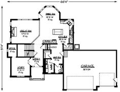 First Floor Plan of Colonial   Craftsman   European   House Plan 57325
