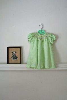 vintage 60s toddler dress  KEY LIME green swiss dot by MsTips, $20.00