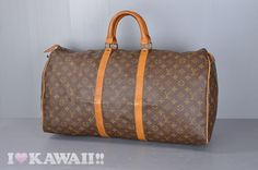 Vintage Auth Louis Vuitton Monogram Keepall 55 Travel Bag M41424