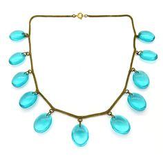Vintage Art Deco Turquoise Blue Glass Drop Riviera Necklace | Clarice Jewellery