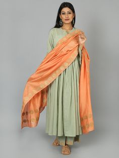 Pista Green Peach Cotton Anarkali Suit  - Set of 3