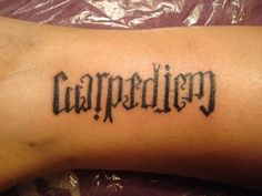 db8013ff8 A great ambigram tattoo of probably the most famous Latin phrase in  existence; carpe diem