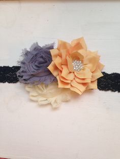 Navy grey headband -yellow lotus flower, grey and ivory shabbys on navy Elastic Headband Baby, toddler womens headband wedding flower girl family pictures photography prop fall pictures wedding bride accessory something blue