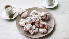 Raspberry amaretti biscuits recipe - BBC Food Amaretti Biscuits, Cookies Et Biscuits, Nadiya Hussain Recipes, Great British Bake Off, Raspberry Cheesecake, Cookies Ingredients, Biscuit Recipe, Tray Bakes, Chocolate Recipes