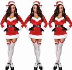 Santa Baby Christmas Costume Velvet Long Sleeves Dress Hat Holiday D80634 | eBay