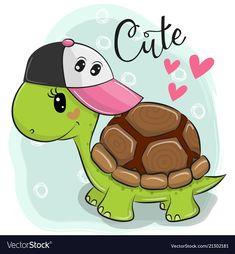 Cute Turtle on a blue background. Cute Cartoon Turtle on a blue background royalty free illustration Cute Turtle Cartoon, Cute Cartoon Animals, Cute Animals, Baby Animals, Cartoon Drawings, Easy Drawings, Animal Drawings, Cartoon Images, Turtle Classroom