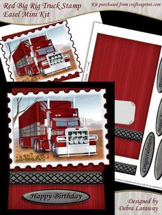 - The main image features a digital painting of a red big rig truck. Kit includes two sheets: 1 card base and 1 easel with la. Man Birthday, Birthday Cards, Happy Birthday, Printable Box, Big Rig Trucks, Easel Cards, Quick Cards, Rigs, Gift Bags