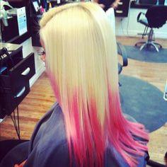 Dip dye hair. Blonde with hot pink sooo cute.