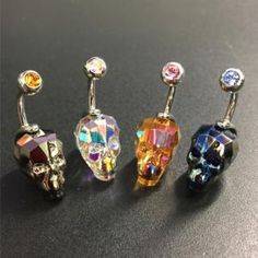 "14G 3/8"" STEEL CAST INTERNALLY THREADED HAND POLISHED SWAROVSKI ELEMENT CUT SKULL"