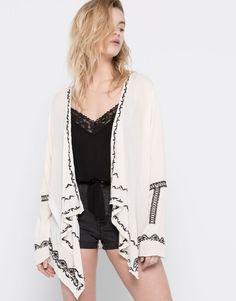 Pull&Bear - woman - kimonos & ponchos - embroidered kimono - ice - 05470315-V2016