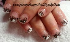 www.facebook.com/NailStyleByDani French black and gold flower nails