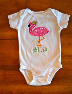 Personalized Flamingo Onesie or TShirt by tresbienboutique on Etsy, $17.00