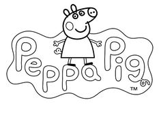LOGO to color PEPPA PIG cartoon - Kids Pages for free coloring and ...