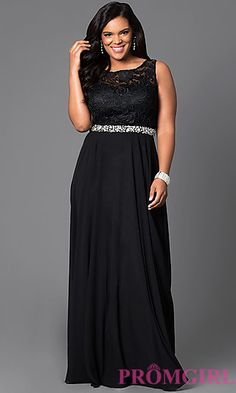 Long Embellished Waist Gown with Lace Sleeveless Bodice  at PromGirl.com