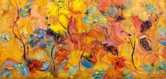 """Garden Harmony"" Original Palette Knife Abstract 6x12"" Oil on Canvas Flower Painting (sold) by Colorado Impressionist artist Judith Babcock via dailypainters.com"