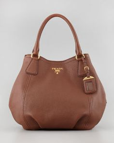 V1NJQ Prada Daino Medium Shoulder Tote Bag, Brown