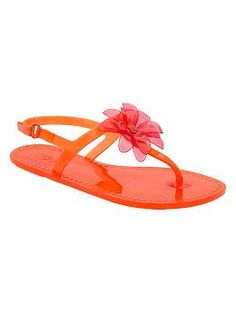 T-strap flower jelly sandals