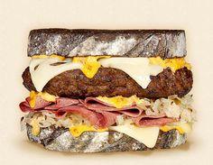 The Brooklyn:  Wisconsin Swiss Cheeseburger Recipe.  Other ingredients:  corned beef, thousand island dressing, beef patty, sauerkraut, and grilled dark rye.   - Wisconsin Milk Marketing Board